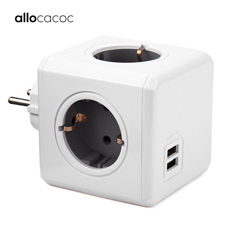 Allocacoc PowerCube Socket EU Plug Power Strip USB Multi Smart Plug Extension EU Electrical 16A 4 Outlet 2.1A Home Charging Gray