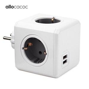Allocacoc PowerCube Socket EU Plug Power Strip USB Multi Smart Plug Extension EU Electrical 16A 4 Outlet 2.1A Home Charging Gray(China)
