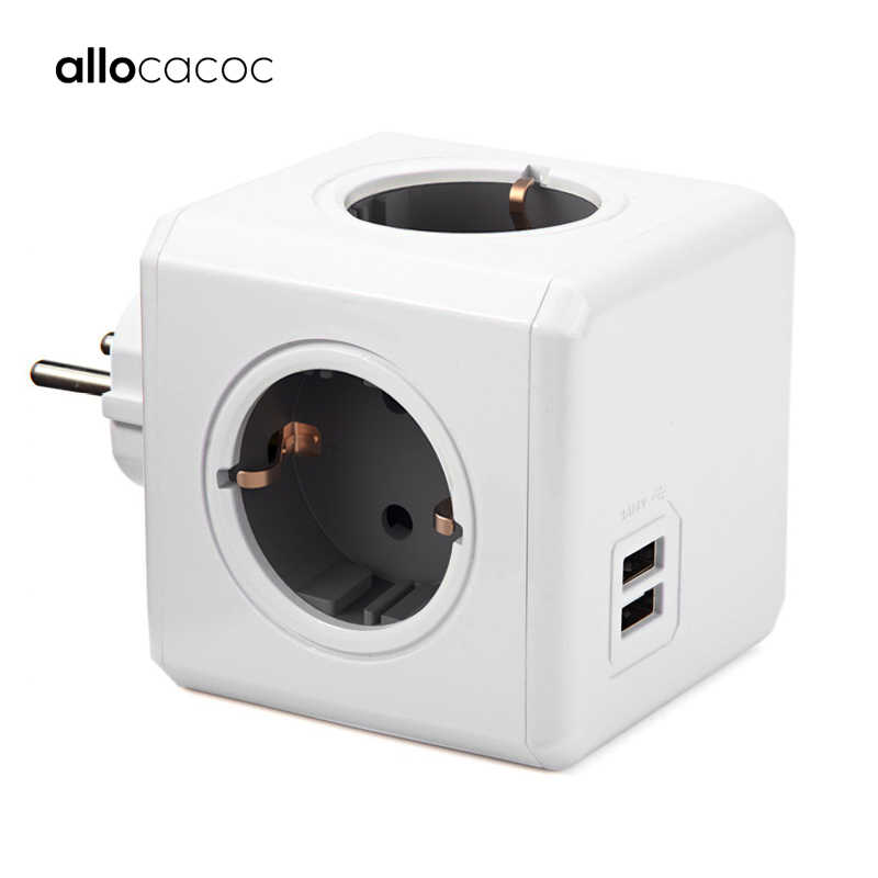 Allocacoc PowerCube listwy zasilającej wielu wtyk rozszerzenie gniazdo ue gniazdo elektryczne 16A 4 gniazda 2 USB 2.1A użytku domowego ładowania szary