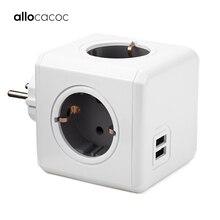 Allocacoc PowerCube כוח רצועת שקע האיחוד האירופי תקע רב חכם תקע סיומת האיחוד האירופי חשמל 16A 3680W 4 לשקע בית טעינה אפור