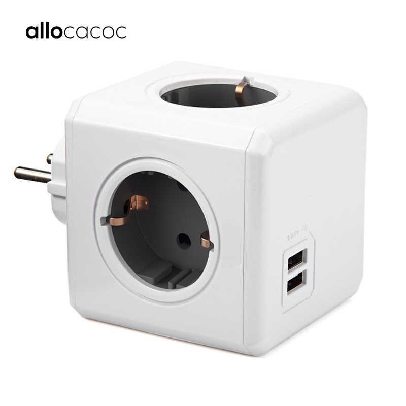 Allocacoc Powercube Ổ Cắm USB Cắm Dán Cường Lực Đa Ổ Cắm Điện Thông Minh Mở Rộng EU Điện 16A 4 Ổ Cắm 2.1A Nhà Sạc Xám