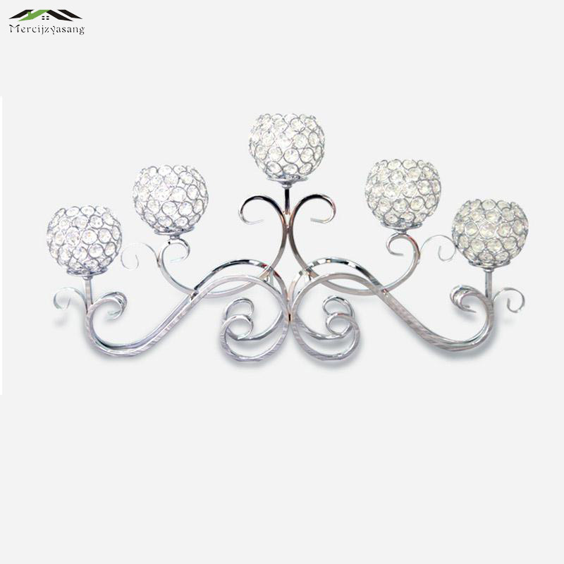 Metal Silver Plated Candle Holders 5-Arms With Crystals 70CMx33CM Stand Pillar Candlestick For Wedding Portavelas CandelabraMetal Silver Plated Candle Holders 5-Arms With Crystals 70CMx33CM Stand Pillar Candlestick For Wedding Portavelas Candelabra