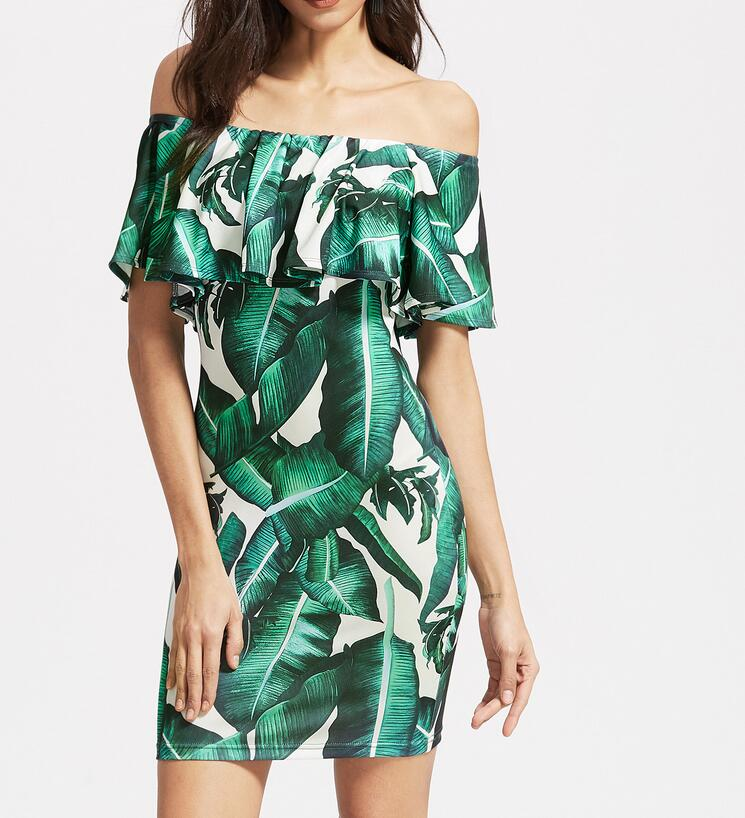 Letní šaty lomítko krku Ženy zelené listy tisk z ramene Sexy elegantní Vintage štíhlá strana volánky šaty vestidos
