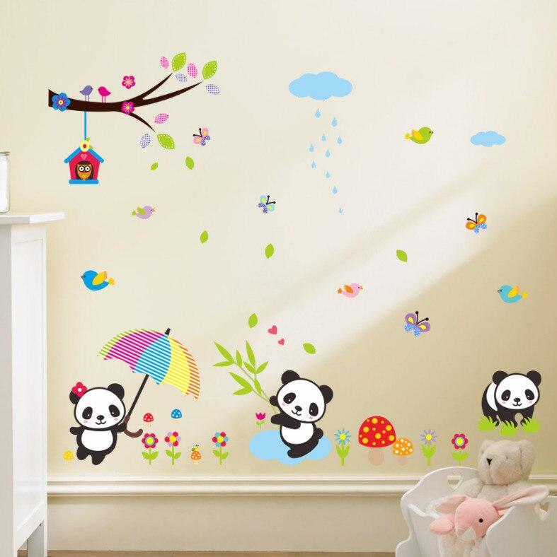 Animales lindos de la historieta panda zoológico árbol aves mariposa del niño de