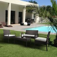 Outdoor Patio PE Rattan & Iron Sofa Set 2PCS Arm Chairs 1pc Love Seat & Tempered Glass Coffee Table Modern Garden Sofa Furniture