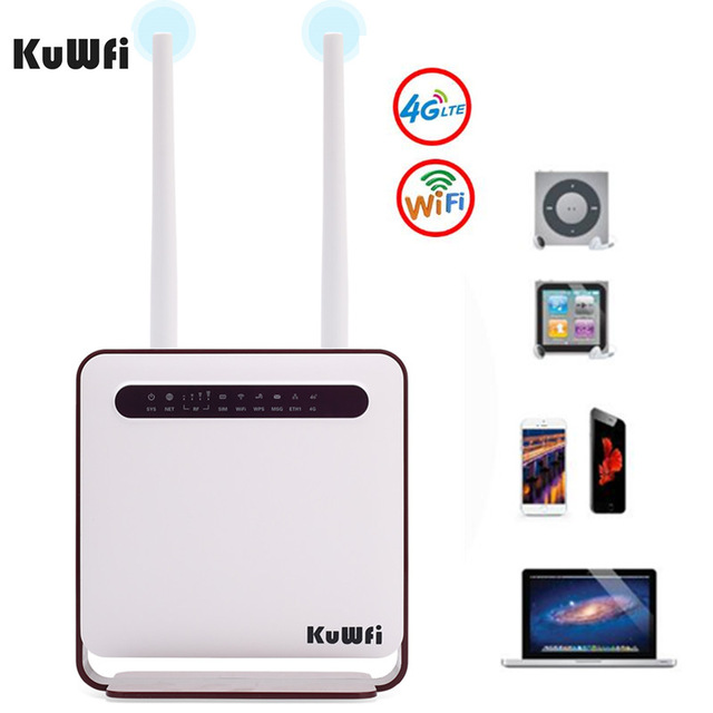 KuWfi 4G WiFi Router 300Mbps Wireless Wi-Fi Mobile LTE 3G/4G Unlocked CPE Router With SIM Slot 4LAN Ports Support 32 Wifi Users