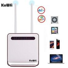 Router WiFi KuWfi 4G 300Mbps inalámbrico Wi Fi móvil LTE 3G/4G desbloqueado enrutador CPE con ranura SIM 4 puertos LAN soporte 32 usuarios Wifi