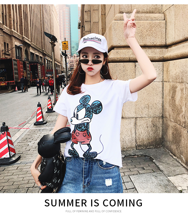 2019 Summer New Women's T-shirt Fashion Casual Mickey Mouse Printing Round Neck Short Sleeve Loose Female Tshirts 14