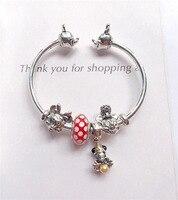 2019 Hot 925 Sterling Silver Fashion Jewelry Charm Bracelet DIY Mickey Minnie Open Bracelet for Women Gift Jewelry