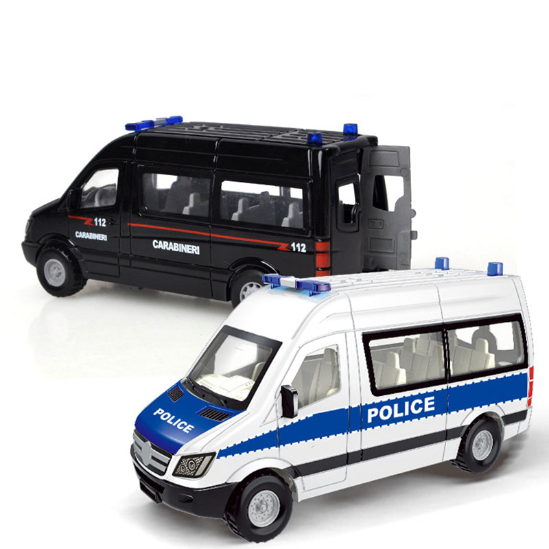 1:55 Simulation Hospital Rescue Ambulance Police Metal Alloy Model Car Toys Pull Back Alloy Diecast Model Car Toys For Children