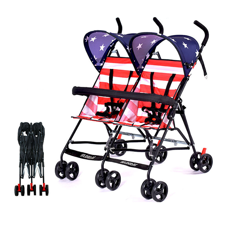 Twin Baby Stroller Ultra Light Portable Small Folding Umbrella Double Cart Shock Absorber Baby Carriage 5-point Seat Belt
