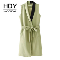 HDY Haoduoyi Women Long Vests Sleeveless Solid Green Waistcoat pockets Patchwork Coats With Sashes Adjustable 2017 Autumn Winter