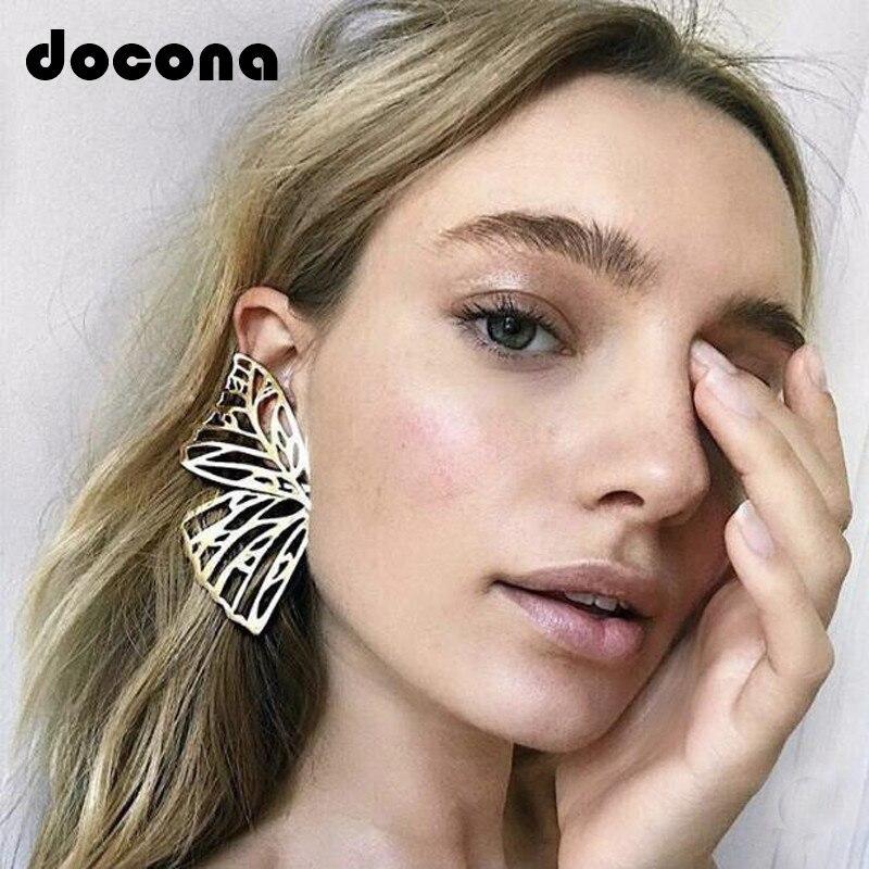 Docona Gold Silver Hollow Butterfly Drop Dangle Earring For Women Metal Big Wing Pendant Earring Statement Jewelry Brincos 6218