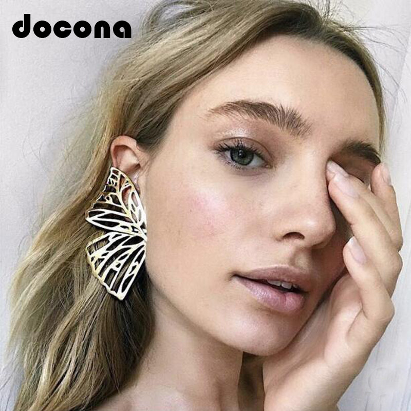 Docona Gold Silver Hollow Butterfly Drop Dangle Earring For Women Metal Big Wing Pendant Earring Statement Jewelry Brincos 6218