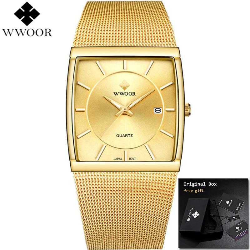 Image 2 - 2019 WWOOR Top Brand Luxury Mens Square Quartz Watches Male Waterproof Date Clock Black Mesh Stainless Steel Wrist Watch For MenQuartz Watches   -