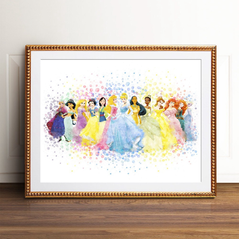 Princess Watercolor Poster Nursery Wall Art Print , All Princess Party Canvas Painting Picture Baby Girls Room Wall Art Decor