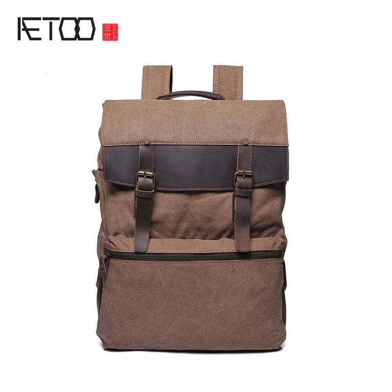 AETOO new foreign trade supply retro men bag shoulder bag canvas bag with the first layer of leather men 's backpack OEM men s leather oblique cross chest packs of the first layer of leather deer pattern men s shoulder bag korean fashion men s bag