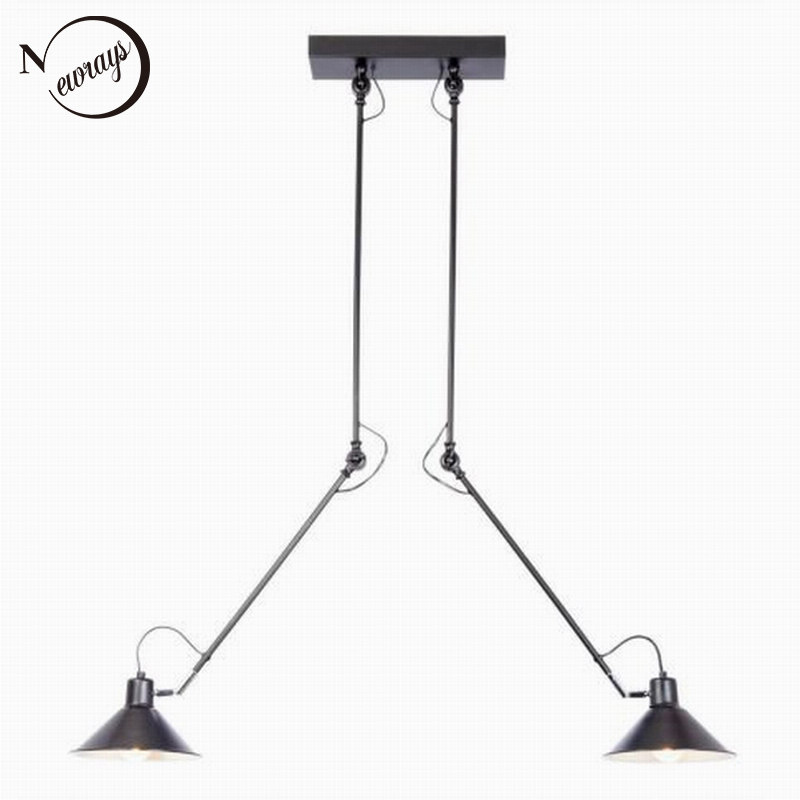 Modern Industrial Black 2 Arm Adjustable Ceiling Light E27 Plafonnier Vintage LED Lamp Fixture Luminaire For Kitchen Living Room