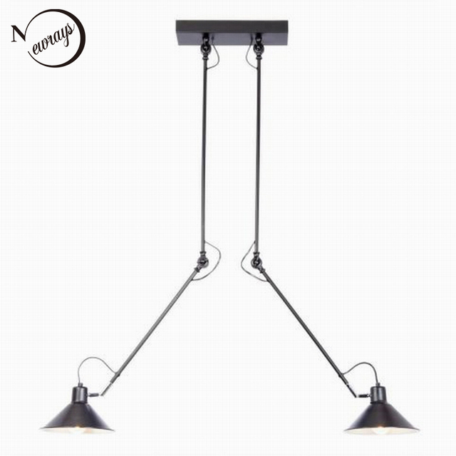 Modern industrial black 2 arm adjustable ceiling light e27 modern industrial black 2 arm adjustable ceiling light e27 plafonnier vintage led lamp fixture luminaire for mozeypictures Choice Image