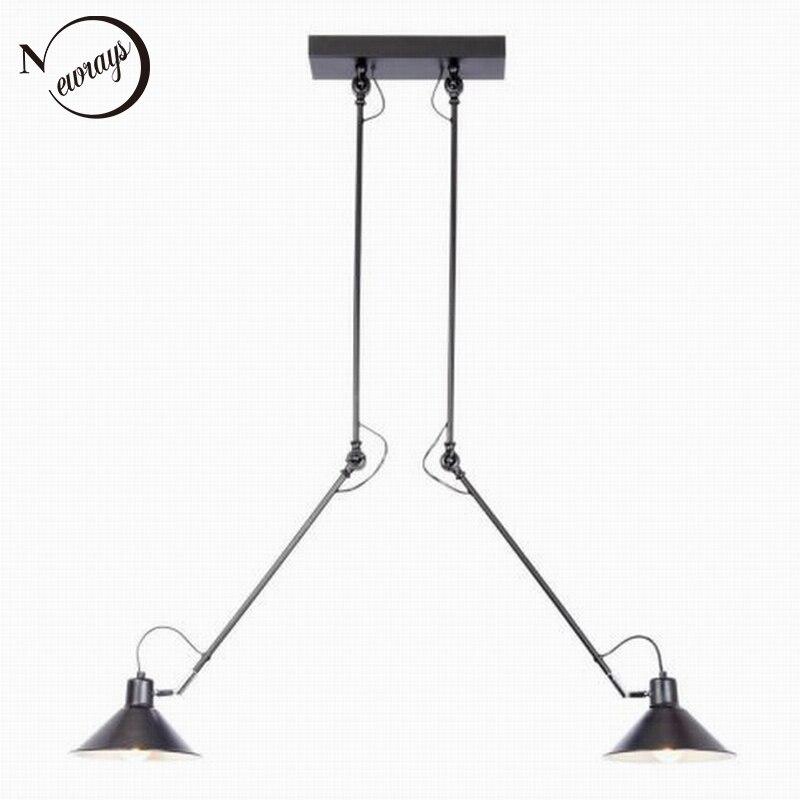 Moderne Industrielle Schwarz 2 Arm Verstellbar Deckenleuchte E27 Plafonnier Vintage Led Lampe Leuchte Fr Ktchen