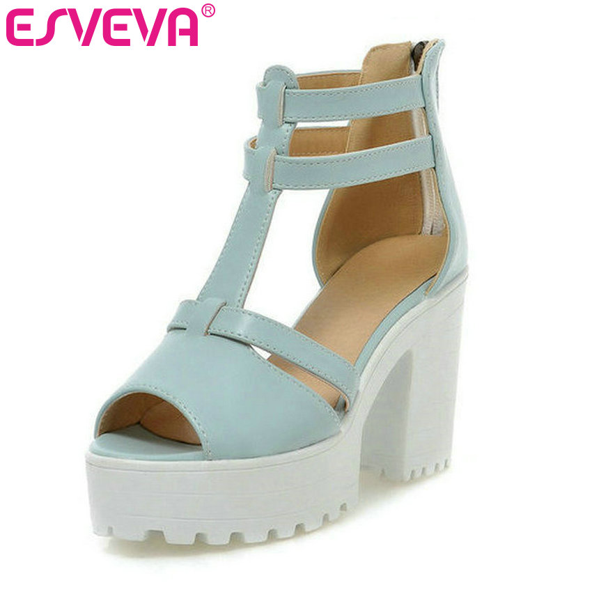 ESVEVA 2018 New fashion white bottom platform sandals for women sexy white pink blue high heels sandals dress shoes size 34-43