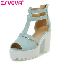 ESVEVA 2018 New fashion white bottom platform sandals for women sexy white  pink blue high heels sandals dress shoes size 34-43 27790cd0d0f0