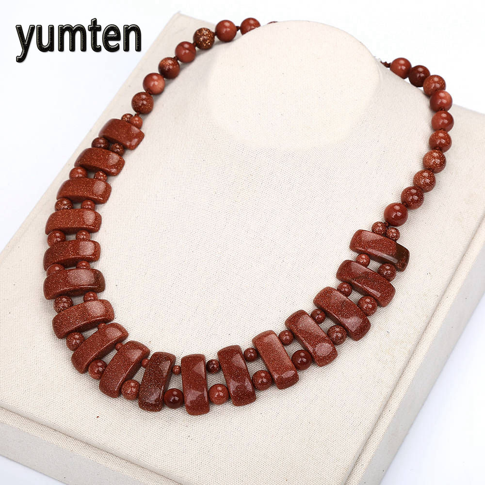Natural Stone Crystal Goldstone Bohemian Necklace Women Beads Exquisite Handmade Flower Jewelry Tassel Necklace Choker Layered