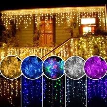 Рождественская гирлянда светодиодный Шторы гирлянда сосульки светильник 220V 5m 96 Светодиодный s Фея Рождественский светодиодный вечерние сад Стадия открытый декоративный светильник