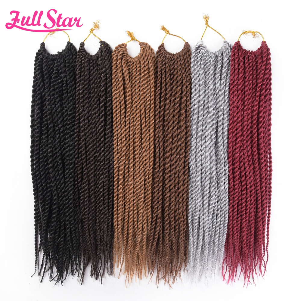 "Full Star 14"" 18 inch Small Senegalese Twist Crochet Braids 1packs 30 root Ombre Black Synthetic Crochet Braid for Braiding Hair"