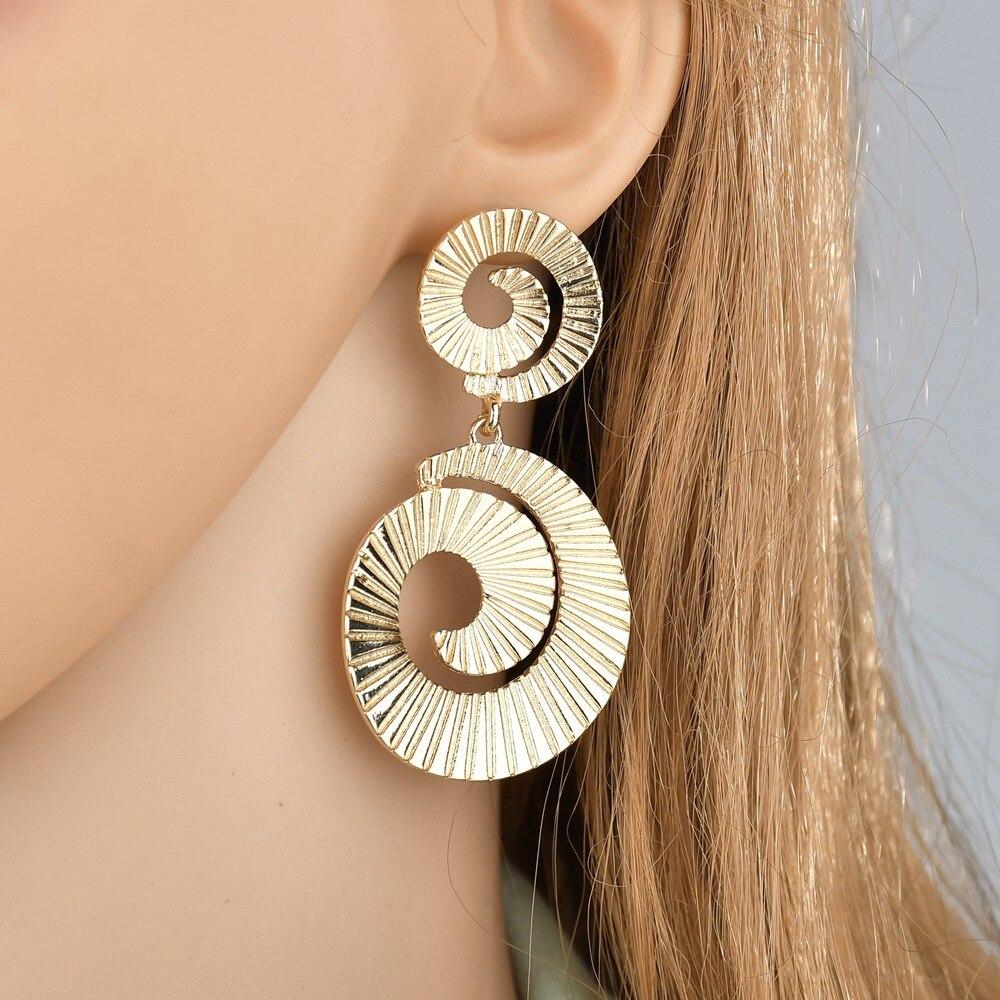 Trendy Gold hang earrings of womens earing Ear Acc Essories Fashion Big Name Spiral Tassel Asymmetric Alloy Women 39 s Earrings in Hoop Earrings from Jewelry amp Accessories