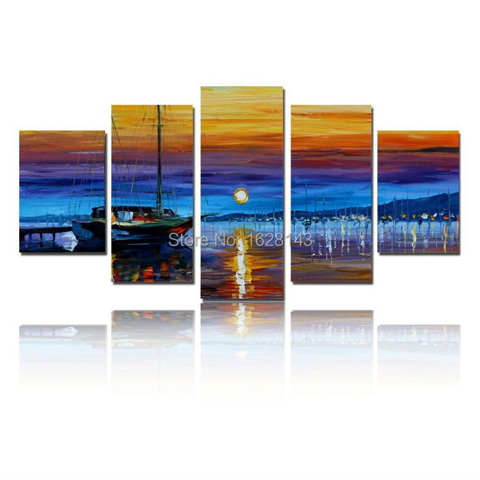 Lighted Pictures Wall Decor popular lighted canvas wall art of boats-buy cheap lighted canvas