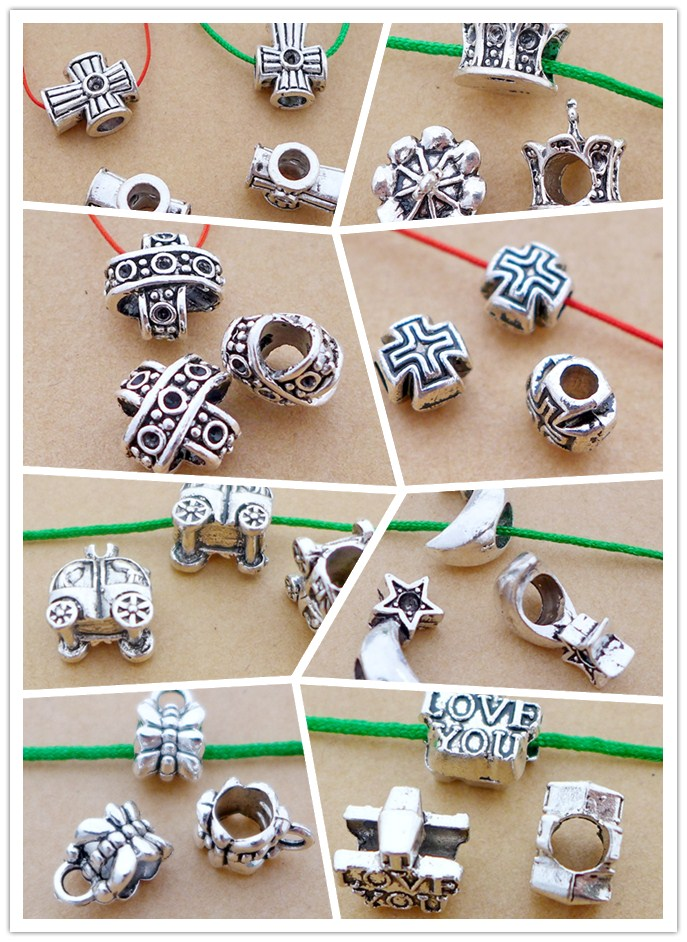 alloy antique silver big hole bead crossover/car/moon/star/I love You charm diy free shipping 20/50/100pcs 8styles top class