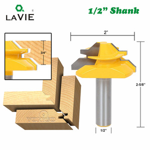 "Image 2 - LAVIE 3pcs 12mm 1/2"" Shank Tenon Router Bits Set Drawer Molding 45 Degree Lock Miter Bit Glue Joint Wood Milling Cutter MC03130"