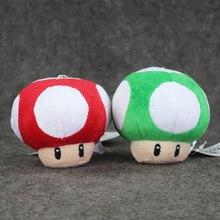 EMS 100pcs lot Super Mario Mushroom Plush Toys Red Green Mushroom Stuffed Doll phone pendant keyring