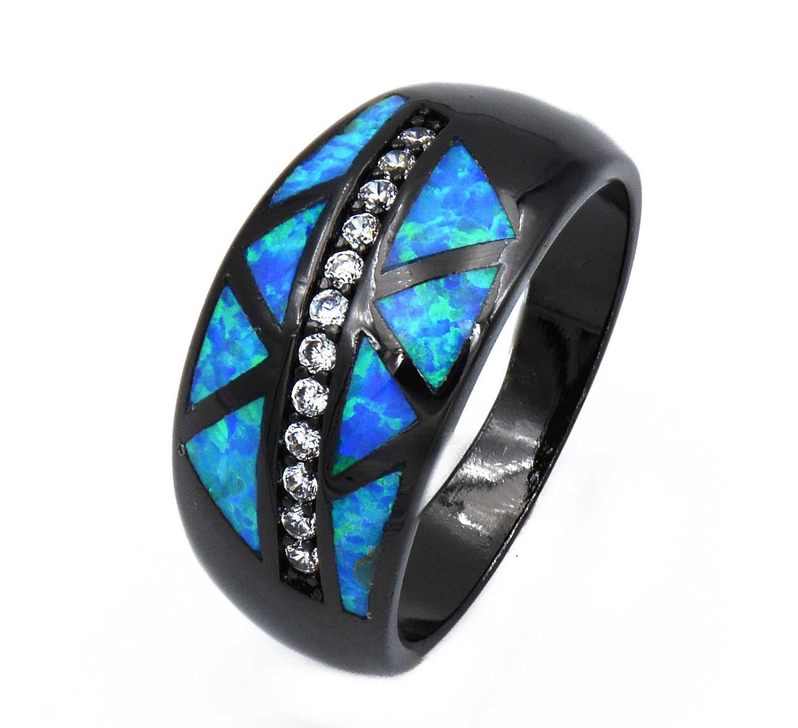 JZ0170 New Arrival Real Black Gold Filled Blue Fire Opal