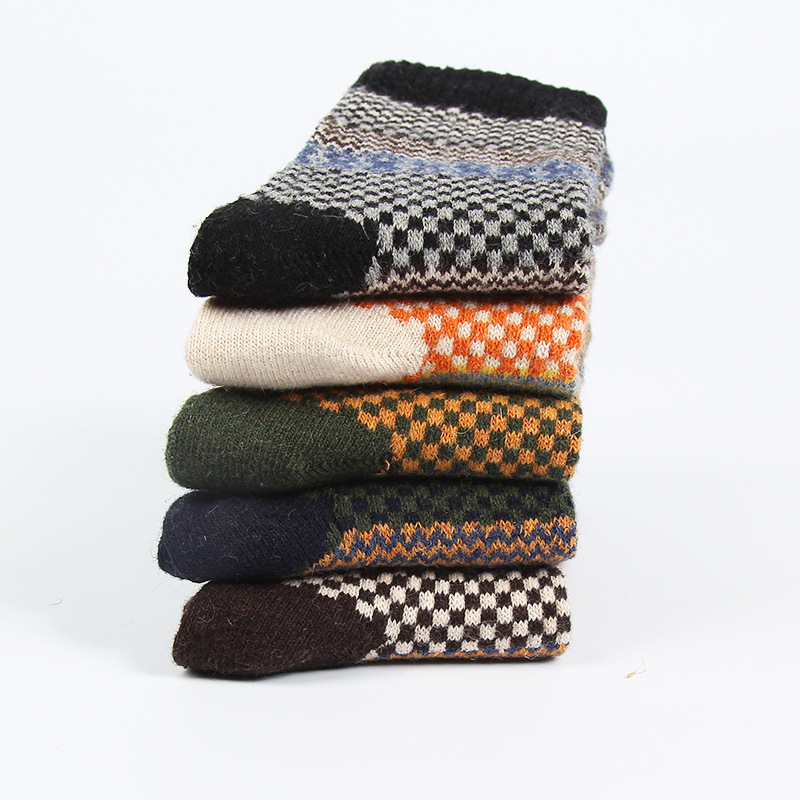 men winter high quality thicken warm wool socks vintage male small lattice patterns long socks 5pairs/lot