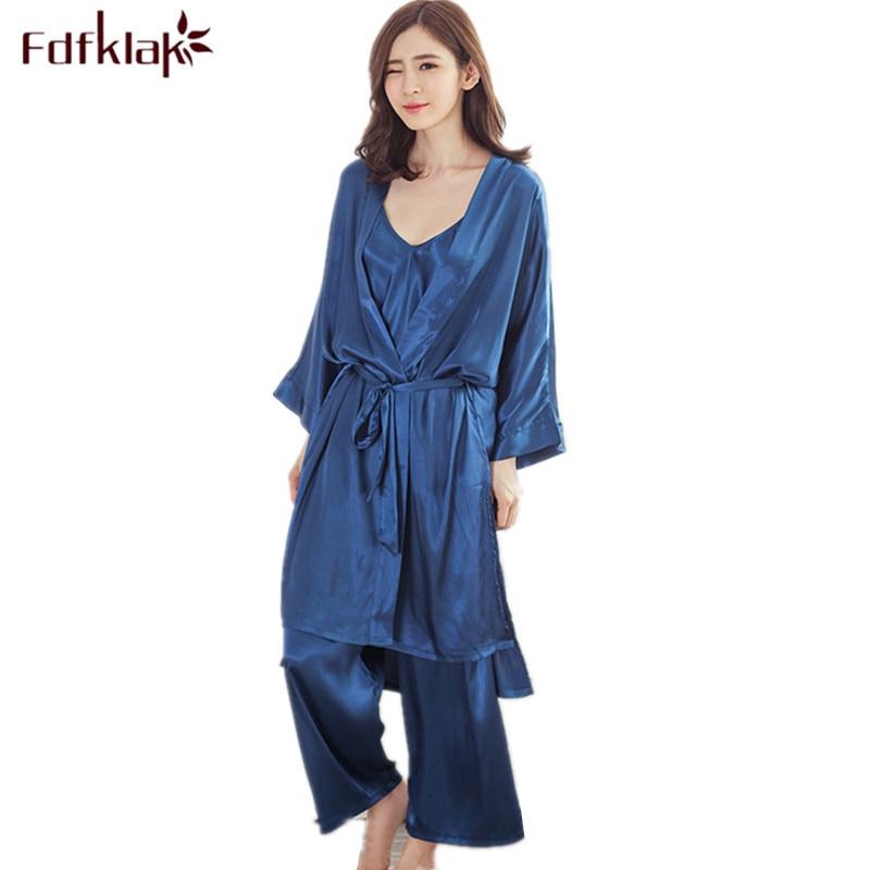 Fashion Home Clothes 3 Pieces Sexy Pyjamas Women Spring Summer   Pajama     Set   High Quality Silk   Pajamas   For Women Pijamas Mujer E779