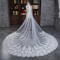 Long Bridal Veil Ivory 3 Meters Long Elegant Wedding Veils With Comb Ivory Lace Edge Bridal Handmade Wedding Veil