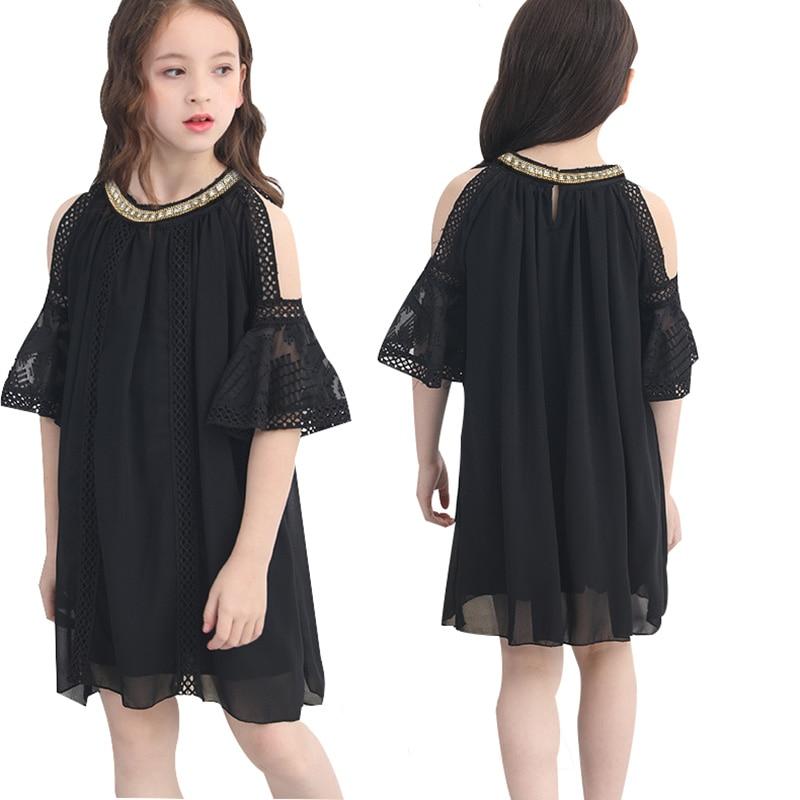 Black Girl Fashion 2019: Short Sleeve Black Girls Dress Elegant Lace Dresses Summer