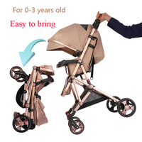 High view baby stroller light portable Can sit and lie folding damping Golden Baby carriage Babies Stroller for 0 3 years old