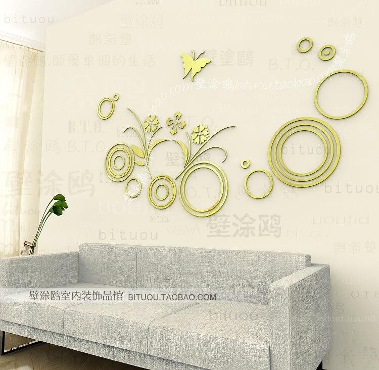 67 39 Gros Ikea Style Acrylique Canapé Motif Décoratif Applique Décoration Papillon Cercle Miroir Mur De Sticker Mural Home Decor Dans Stickers