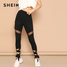 7588e4c8f9 SHEIN Black Mesh Insert Lace Up Hem Sporty Leggings Women Spring Solid  Sheer Detail Casual HighStreet