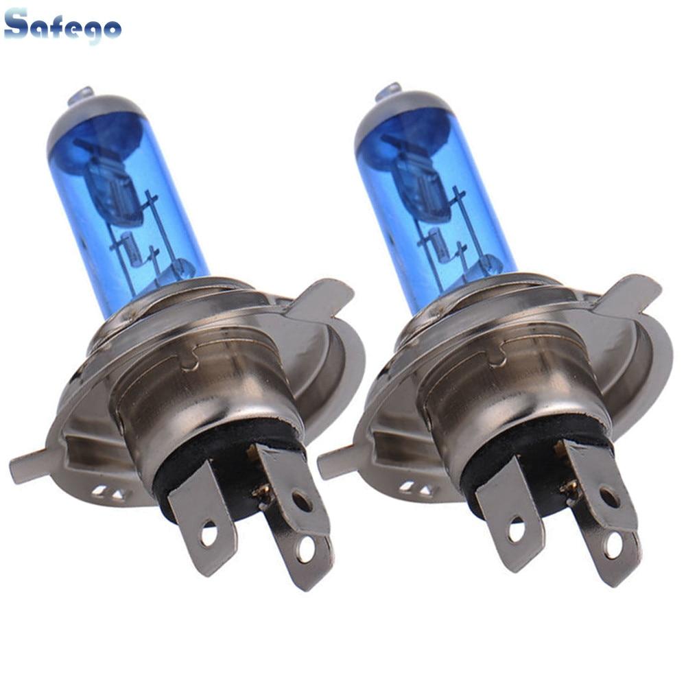 Safego 2pcs 12V 60W/55W H4 Halogen Bulb 4300k Warm White Car HeadLight Xenon 55w H4 Halogen Lamp Hi Lo Beam Light