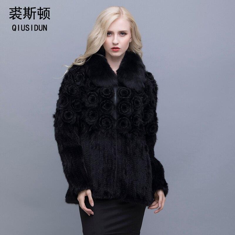 QIUSIDUN Véritable Pur Naturel De Fourrure De Vison Manches Longues Manteau De Mode D'hiver Chaud de Grande Taille Fleur De Vison Femmes Casual Plein vêtements