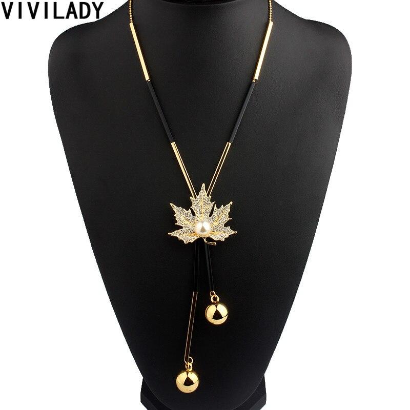 VIVILADY Lovely Maple Leaf Long Beaded Chain Tassel Pendant s