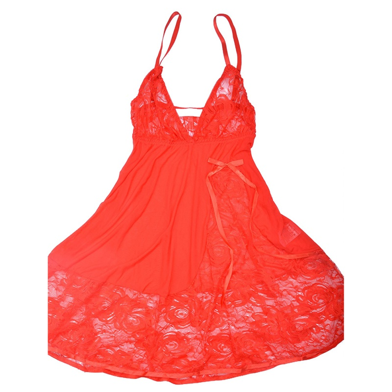2017 Hot Verkoop Dames sleepdress Sexy Lace Printed Hol Bloem Nachtkleding Touw Set V Nachtkleding Lingerie