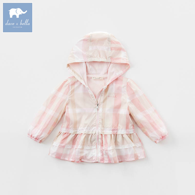 DBM7137 dave bella spring infant baby girls hooded coats kids outerwear toddler children high quality lovely clothes