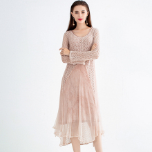 Dress Women 100% Silk Patchwork Hollow Out Knitted Design O Neck Long Sleeves Solid Long Dress New Fashion Style 2019 Spring ladylike style solid color scoop neck lace long sleeves slimming burnt out dress for women