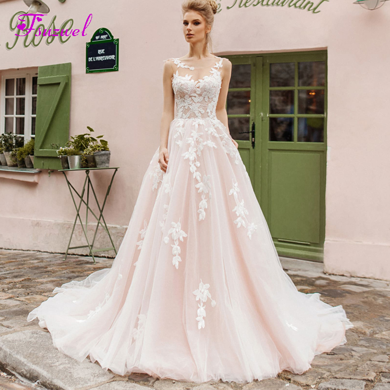 Backless Wedding Dresses 2019: Fsuzwel Design Sexy Scoop Neck Backless A Line Wedding
