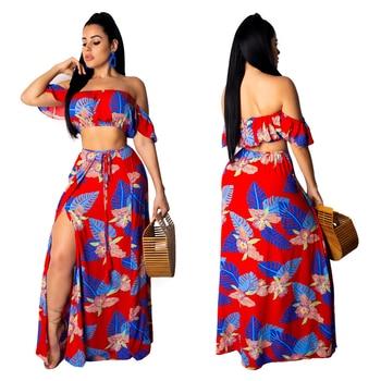 Boho Style Summer Women Long Dress Floral Print Maxi Fashion Ruffle Sleeve Wrap Chest Split Skirt Beach Dresses Vestidos Longo